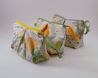 Zippered Pleated Pouch in a Citrus Punch Print Cosmetic Bag Vacation Destination Bag