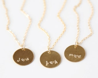 Custom Stamped 14K Gold Filled Initial with Heart Necklace // Simple everyday initial jewelry