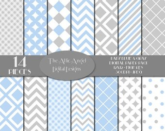 SALE - Baby Digital Paper, Blue and Gray, Digital Scrapbooking, Boy Background Paper, Blue Polka Dots, Chevron, Commercial Use CU