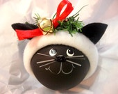 BLACK CAT ORNAMENT Jingle Bell Blue Snowflake Hat Christmas Townsend Custom Gifts
