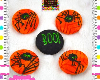 "KAWAII 7/8"" Covered Buttons Japanese Fabric Covered Buttons Halloween Spiders Handmade Buttons Fabric Covered Buttons 7/8"" Shank Buttons"