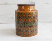 Vintage Biscuit Barrel Canister - Hornsea Bronte Pot Holder Chocolate Kitchenware Holder Orange Green