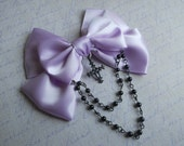 Pastel Goth Hair clip or Brooch Lavender bow with black cross and black beads