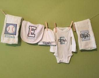 Monogrammed baby boy gift- baseball theme