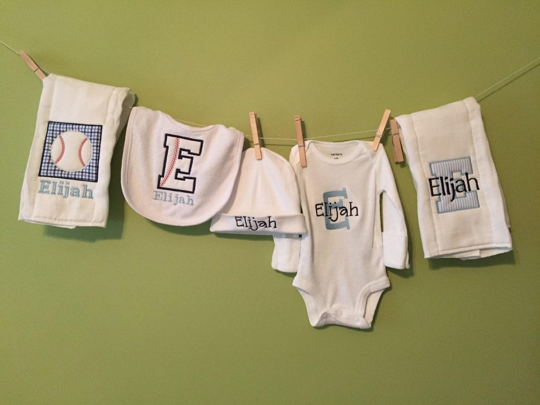 Baby Gift Monogram : Monogrammed baby boy gift baseball theme