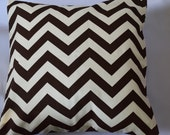 "Clearance 16"" envelope closure pillow covers in Premier Pints Brown and Natural Zig Zag"