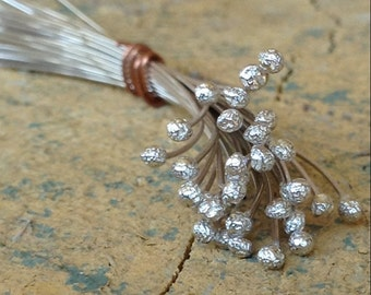 15 Pieces - 24 Gauge - 2.5 inch Ball Tipped 925 Sterling Silver Head Pins - Hand Forged - Handmade - Shiny - Custom - Silver Wire