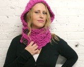Hooded Cowl - Scoodie - Chunky Magenta Yarn - Painted Wooden Buttons - Vegan Hat - Hood - Cowl