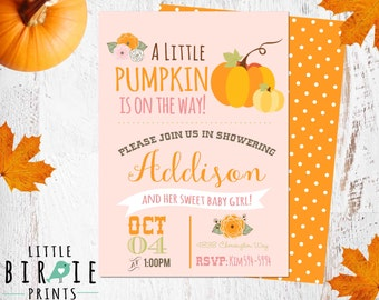 Fall PUMPKIN BABY Shower Invitation, Little Pumpkin Baby Shower Invitation, Girl Fall baby shower Invitation, Pink Baby Shower Invitation,
