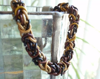 Chain Maille Bracelet Byzantine Weave Muted Colors Hand Made