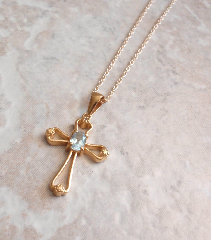aquamarine cross necklace vermeil sterling silver 18