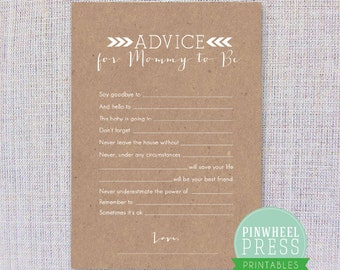 Print Your Own Mommy Advice Cards - Kraft Paper- Baby Book Keepsake - Baby Shower Game - PDF - Instant Download