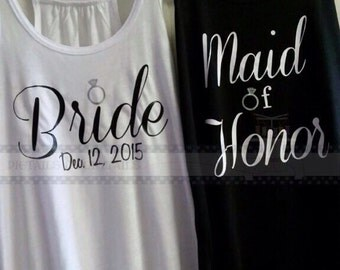 Custom wedding party flowy tanks