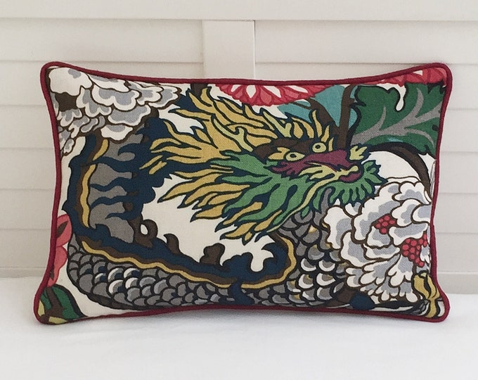 Schumacher Chiang Mai Dragon in Alabaster Designer Pillow Cover with Red Piping