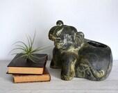 Vintage Elephant Planter, Large Plant Holder, Black Tan Ceramic Animal Figurine, Safari, Jungle, Trunks up for Good Luck, Terra Cotta