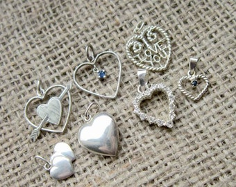 Vintage Sterling silver heart charm pendant collection - 7 individual hearts