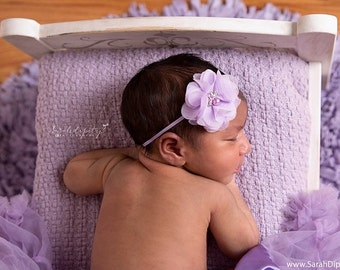 Lavender Newborn Headband, Baby Headband, Lavender Flower Headband, Baby Girl Headband Photo Prop