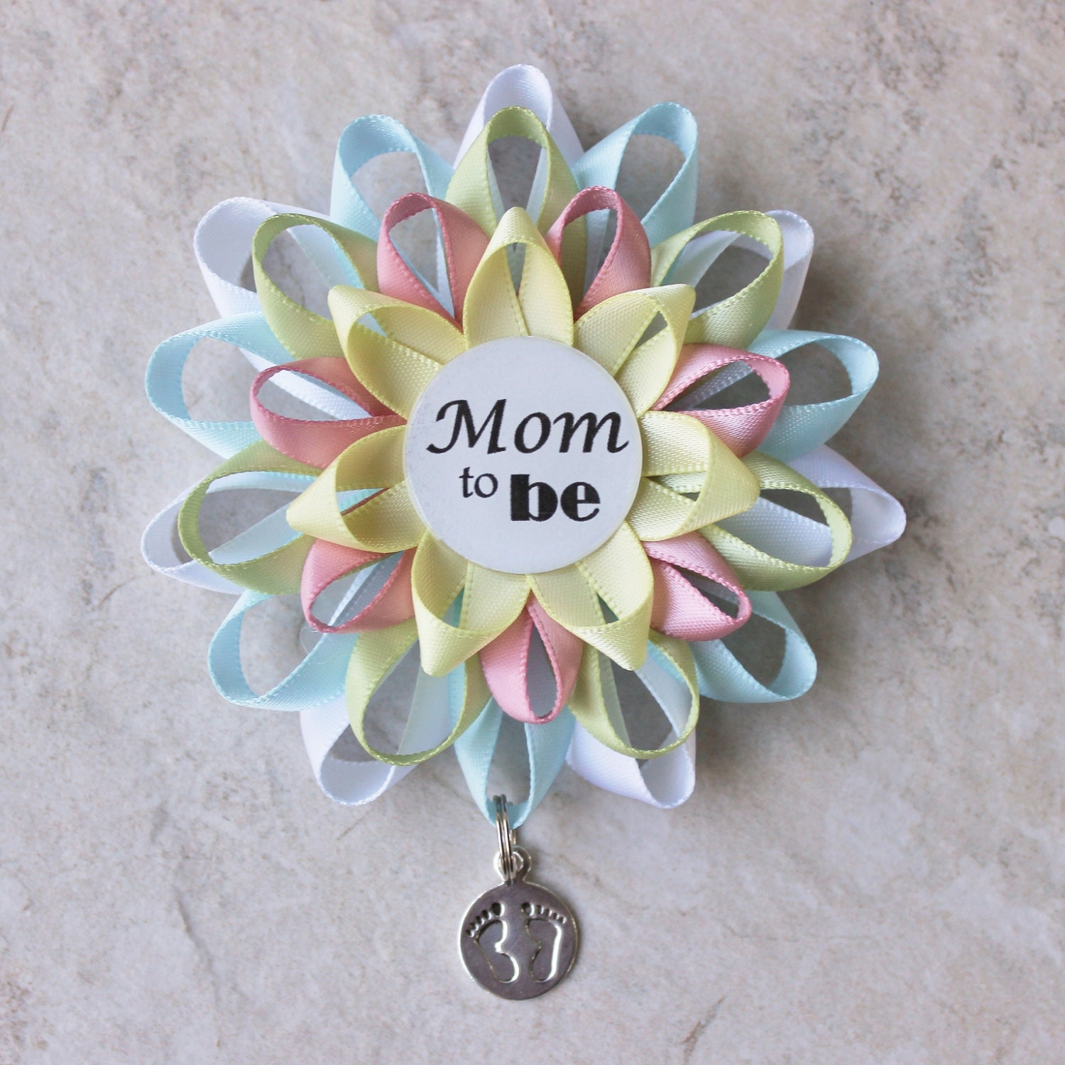 mommy to be pin pregnancy reveal neutral baby shower corsage new