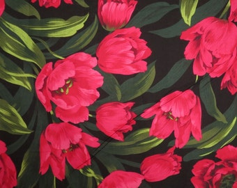 Dramatic Ruby Tulips Print Pure Cotton Fabric from Michael Miller--One Yard