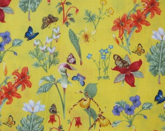 REMNANT--Cheerful Yellow Floral Print Pure Cotton Fabric--5/8 Yard