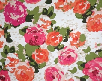 Pink and Melon Orange Muted Floral Print Lightweight Stretch Cotton Sateen Fabric--One Yard