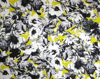 Black and Gray with Acid Green Floral Print Pure Cotton Sateen Fabric--One Yard