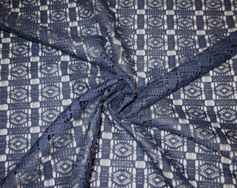 REMNANT--Navy Blue Allover Geometric Pattern Polyester Lace Fabric--3/4 Yard