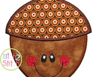 Happy Acorn Applique Design For Machine Embroidery INSTANT DOWNLOAD now available