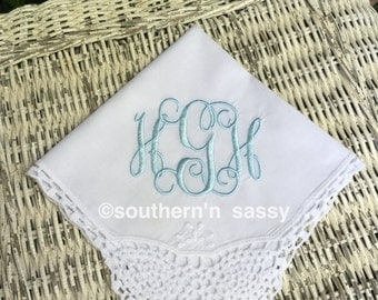 Embroidered  Wedding Handkerchief  With Crochet Lace Corner