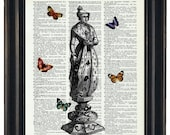 BOGO Sale Chess Queen With Butteflies Art Print with A HHP Original with HHP Signature Butterflies Wall Decor Dictionary Dictionary Prints