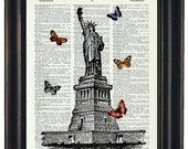 BOGO Sale Statue of Liberty With Butteflies Art Print with A HHP Original with HHP Signature Butterflies Wall Decor Dictionary Prints