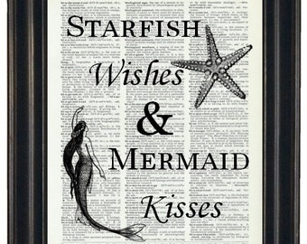 BOGO 1/2 OFF Sale Mermaid Art Print Dictionary Art Print Bathroom Art Wall Decor A HHP Original Starfish Wishes and Mermaid Kisses