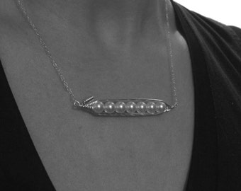 Dainty Pea Pod Bar Necklace- Sterling Silver and Swarovski Pearl