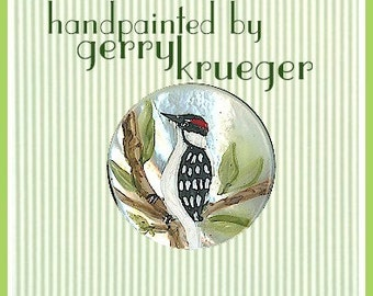 Hand painted button - Downy Woodpecker