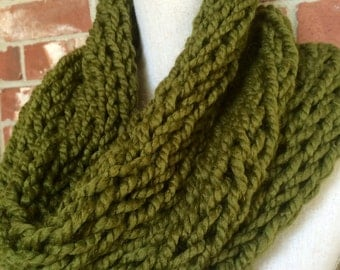Infinity Scarf Circle Scarf Chunky Knit Cowl Olive Green - Industrial Whimsy - Ready to Ship