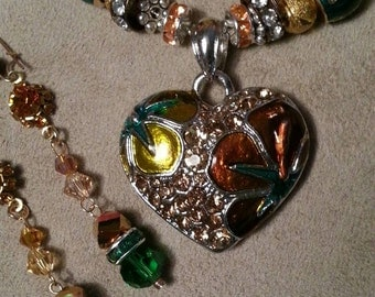 Amber and Emerald Rhinestone and Crystal Puffy Heart Necklace and Dangle Earrings Set, Gold and Silver Plated