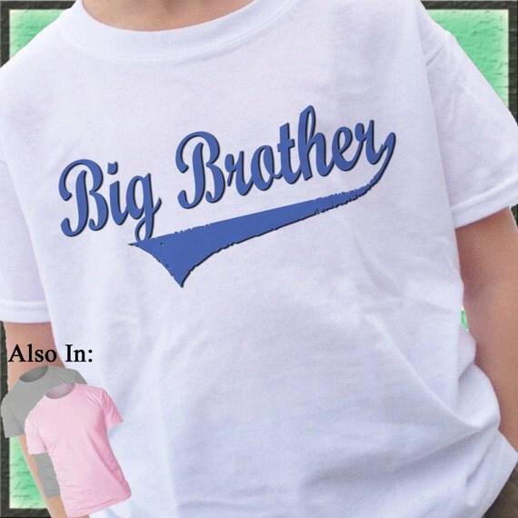 Big Brother Shirt - Swoosh Big Brother Shirt - Big brother swoosh Shirt family announcement tshirt blue text