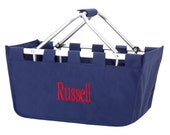 SHIPS NEXT DAY---Monogrammed Large Navy Market Tote Basket  ---Free Monogramming---Great For Tailgating--