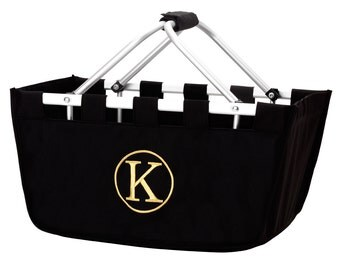 SHIPS NEXT DAY---Monogrammed Large Black Market Tote Basket  ---Free Monogramming---Great For Tailgating--