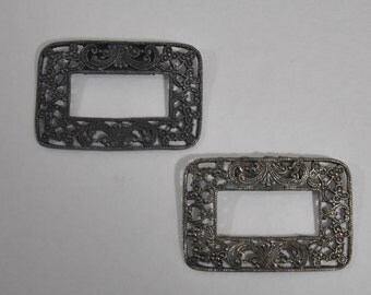 Vintage Steel Ornate Reactangle Shoe Clips