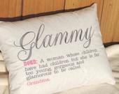 glamma pillow, Glammy pillow, Too Glamorous to be a Grandma Glammy Pillow, grandparents day gift, pregnancy reveal gift, glamma pillow