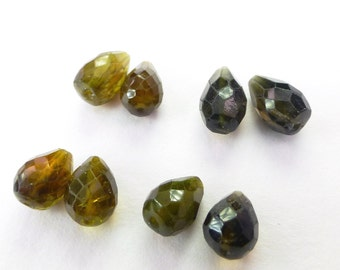 TOURMALINE BeAds. Natural. Muddy Greens. Briolette Beads. 8 pc. +/- 9.80 cts. +/- 4x6 mm (TM2201)