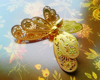 Light Weight Gold Fill Detailed Filagree Butterfly Brooch