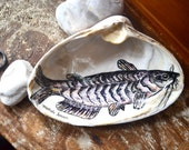 Catfish Ring Holder Dish, Ring Dish, Fisherman Gift, Cabin Decor, Catfish Drawing on a Sea Clam Shell, Fathers Day Gift