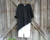 linen contemporary ethnic asymmetrical top blouse in black ready to ship