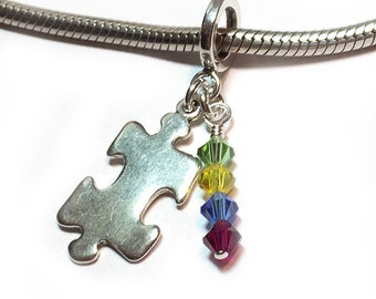 Autism Awareness Charm European Bead Sterling Silver
