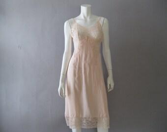 1950s Vanity Fair  Slip - Pink Rayon and Lace - Bias Cut