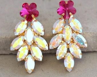 Pink Earrings, Statement Earrings,Bridal Swarovski Earrings,AB Crystal Fuchsia Earrings,Bridesmaids Rhinestone Earrings,Pink Bridal Earrings
