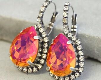 Orange Swarovski Earrings,Silver Orange Earrings,Swarovski Orange Pink Earrings,Volcano Earrings,Teardrop Silver Earrings,Orange Earrings