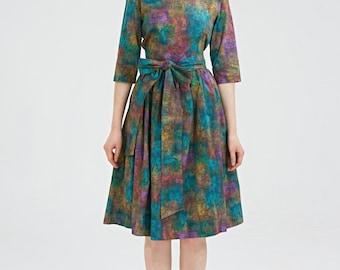 Boatneck dress, 50s dress, plus size dress, green dress by Mrs Pomeranz